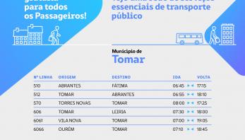 Rede gratuita de serviços mínimos de transporte para os cidadãos do Médio Tejo até 30 de junho