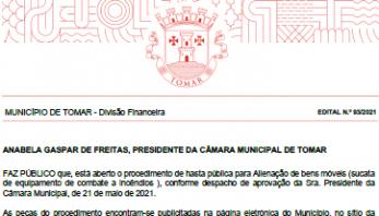 Hasta pública para Alienação de bens móveis (edital 93/2021)